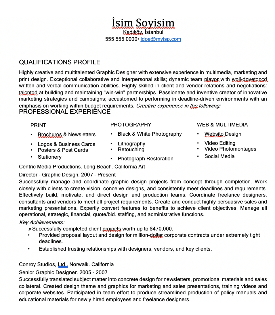 Grafik Tasarım CV Örneği