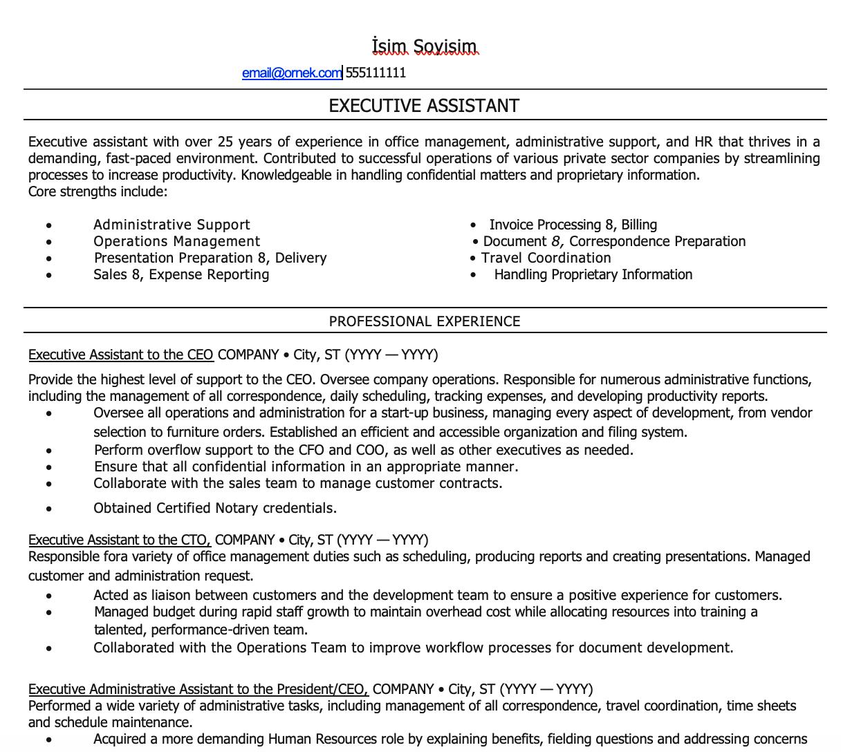 Yönetici Asistanı CV Örnekleri