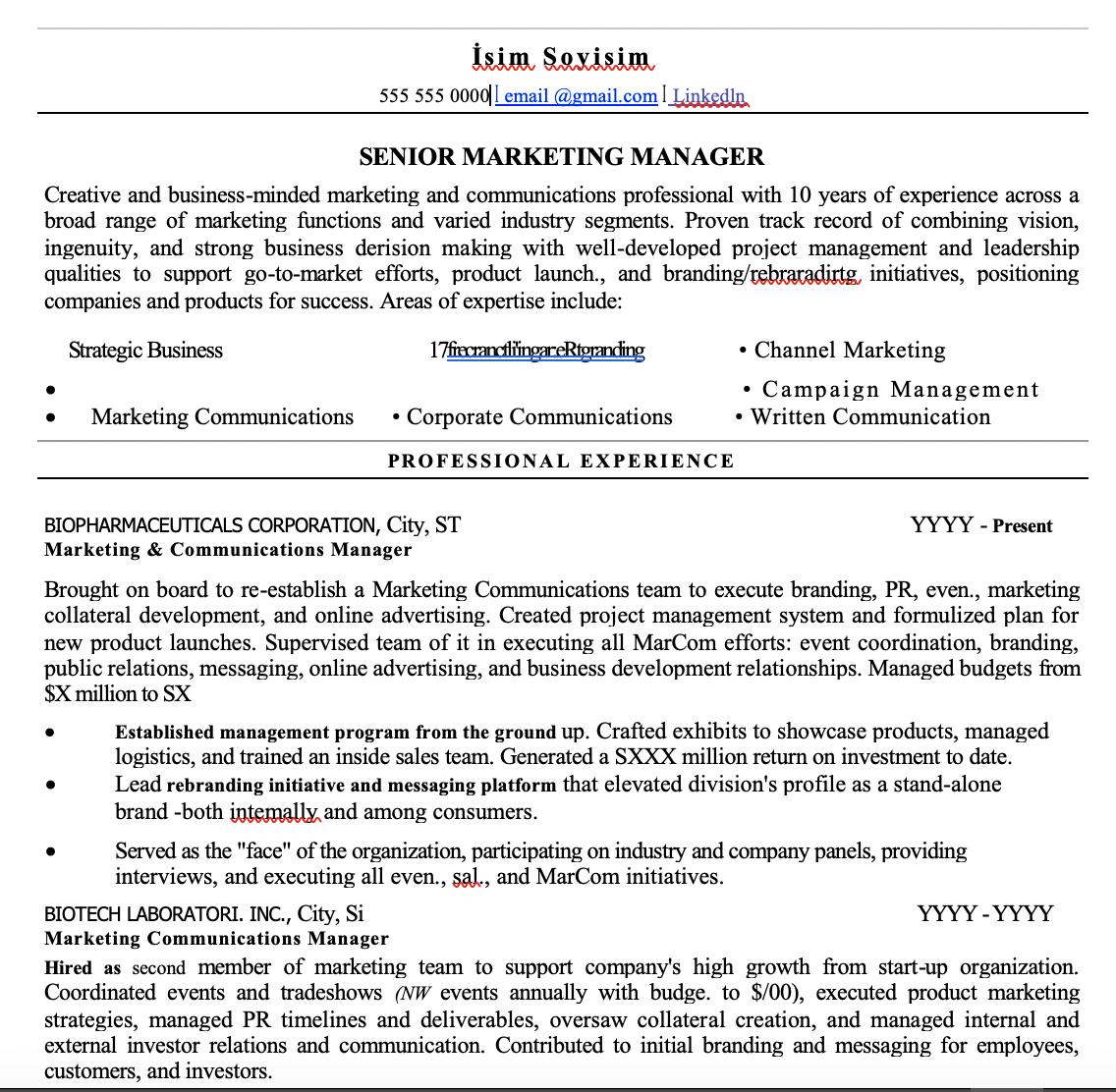 Pazarlama CV Örnekleri