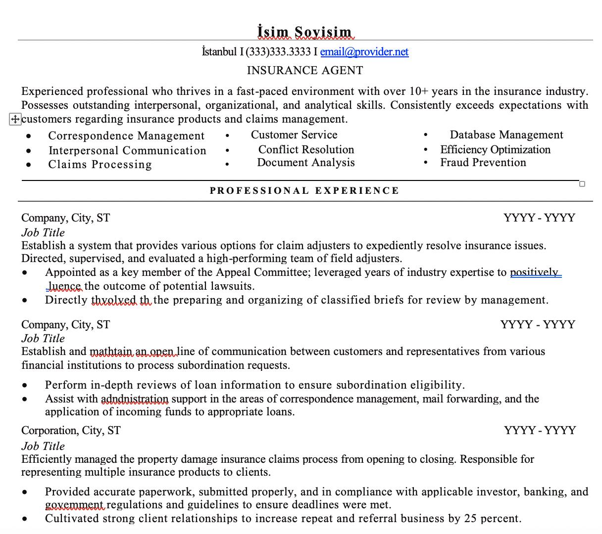 Sigorta CV Örnekleri